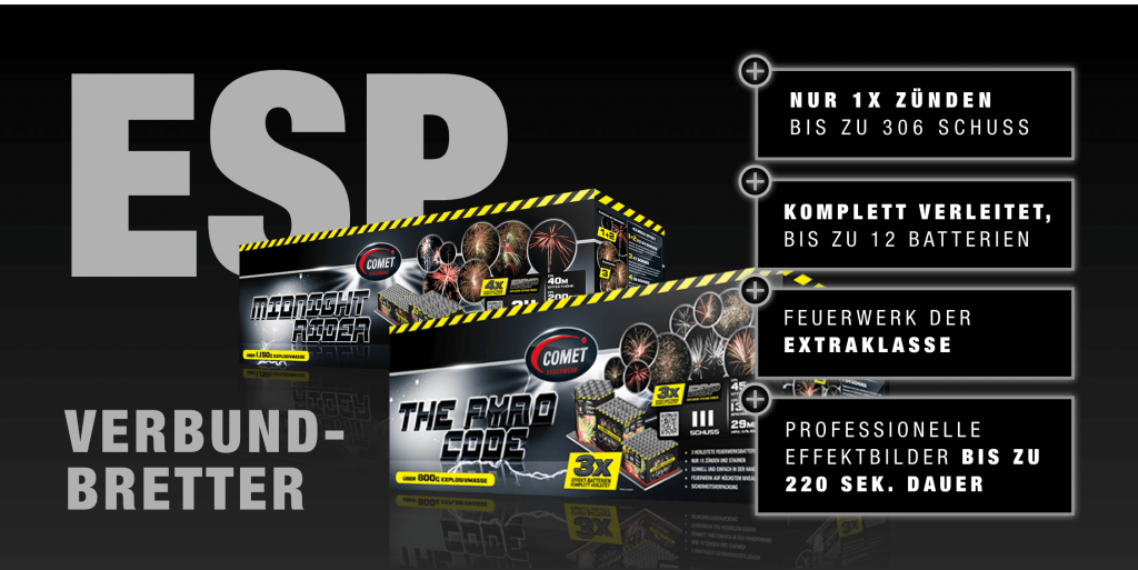 ESP Verbundbretter bieten Professionelle Efekbilder und Feuerwerk der Extrklasse mit bis zu 306 Schuss,